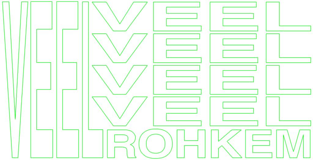 Venitatud ja korduma pandud kiri trendika neoonrohelise ja outline'ituna