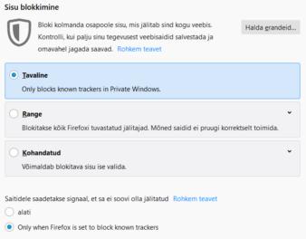 Mozilla Firefoxi sisu blokkimine